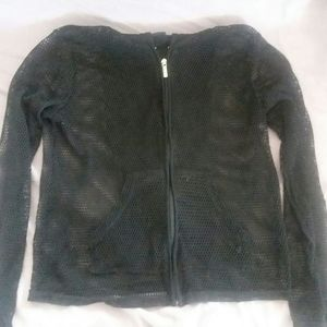 Zip-up Fishnet hoodie- Small